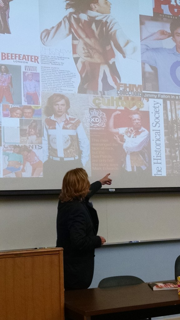 """Keanan discusses """"licensed products and collaborations"""" with law students at UC Hastings in SF."""