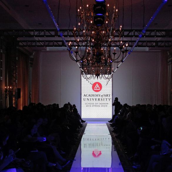 Photo of fashion runway with Academy of Art University logo