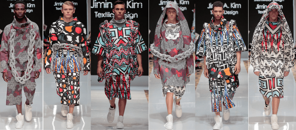 Photo of male models wearing Gyuwon Jeong with Mexican Colombian and South African designs