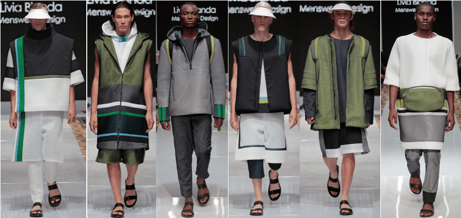Photo of male models wearing clothing designed by Livia Bianda