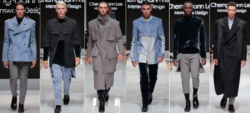 Photo of male models wearing clothing designed by Cherng-Hann Lee