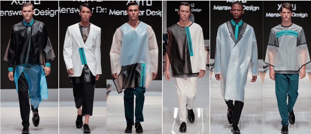 Photo of male models wearing clothing designed by Xun Li