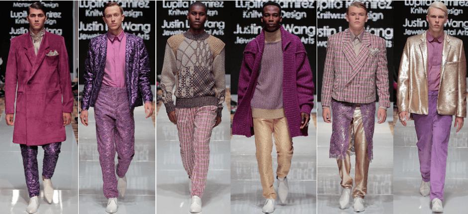 Photo of male models wearing clothing designed by Jeremy Vu  Lupita Ramirez, and Justin Lei Wang