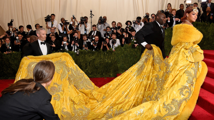 Rihanna at the 2015 Met Ball in New York City in Guo Pei. Image: variety.com