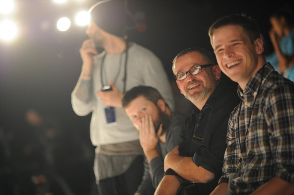 Danny Roberts and Executive Director Simon Ungless watch the dress rehearsal at September 2007 New York Fashion Week.