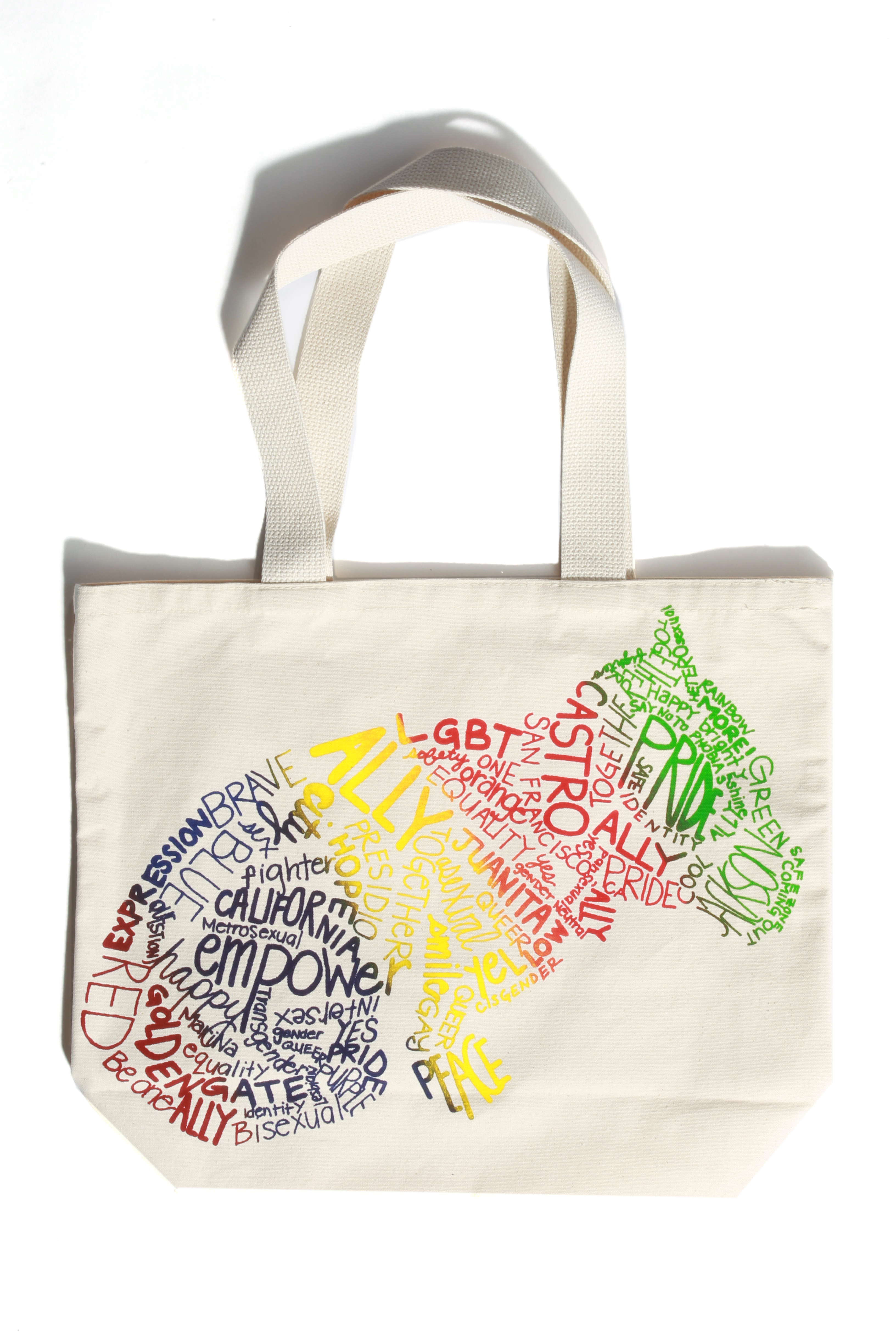 A tote design featuring Juanita MORE!'s dog, . Photo by Bob Toy.