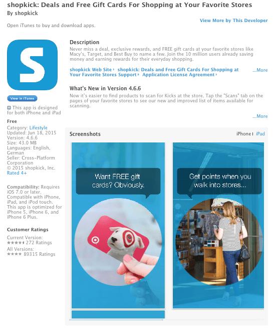 Shopkick preview; Image via Itunes.apple.com
