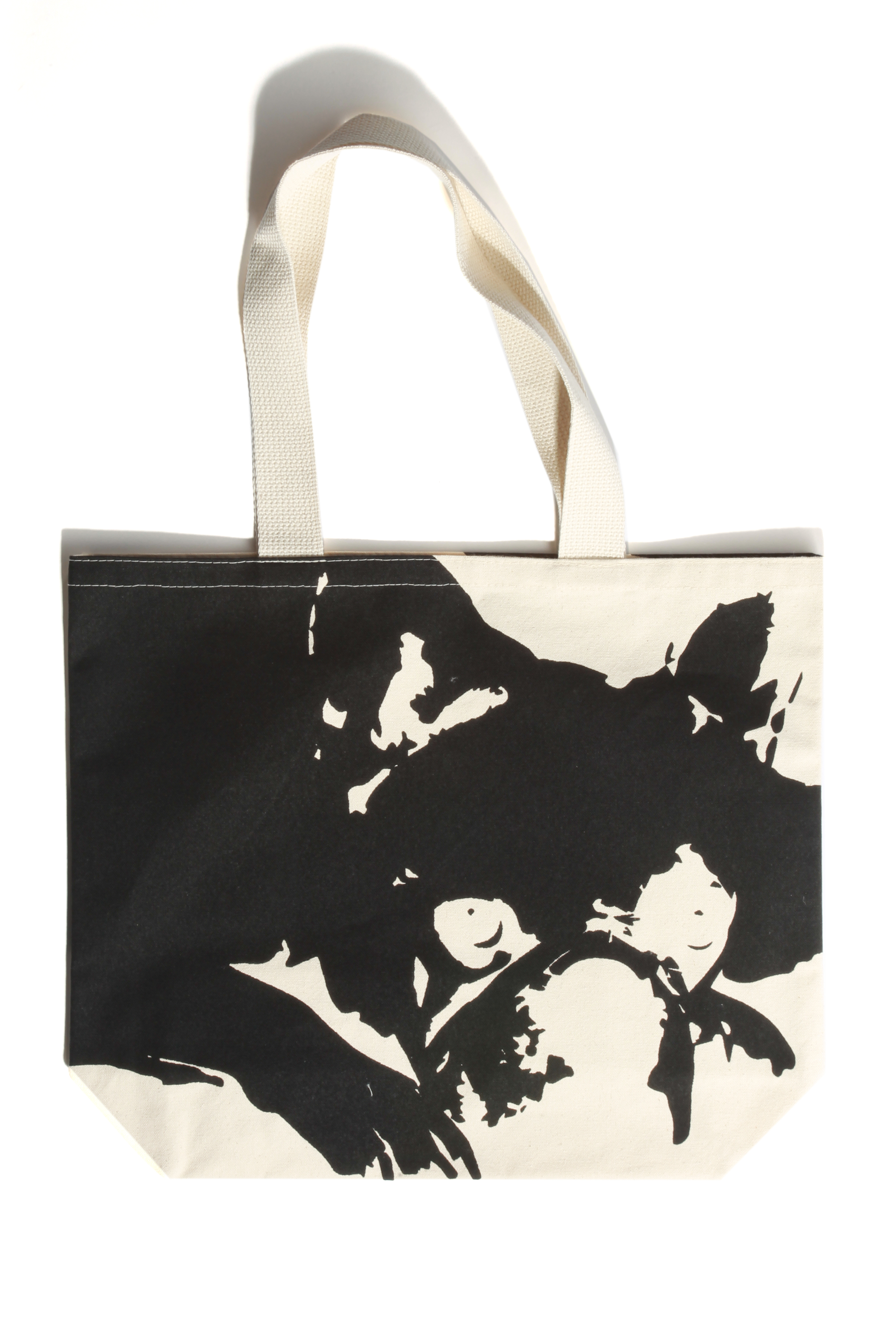 One of the tote designs featuring Juanita MORE!'s French Bulldog Jackson. Photo by Bob Toy.