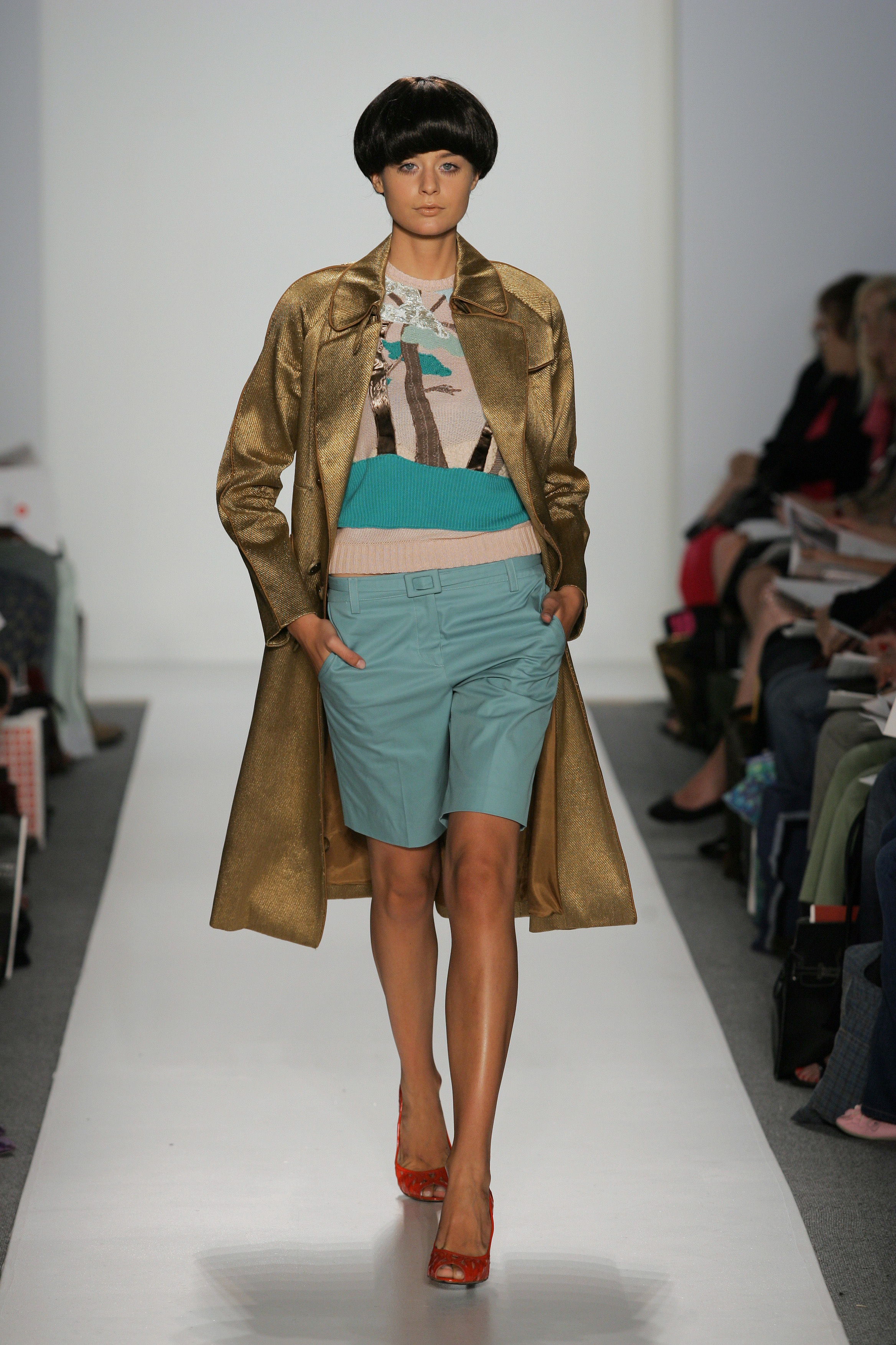 A look from alumni Jie Jessie Liu and Tanja Milutinovic's collaborative collection at the School of Fashion's NYFW show in September 2012. Photo by Getty Photos.