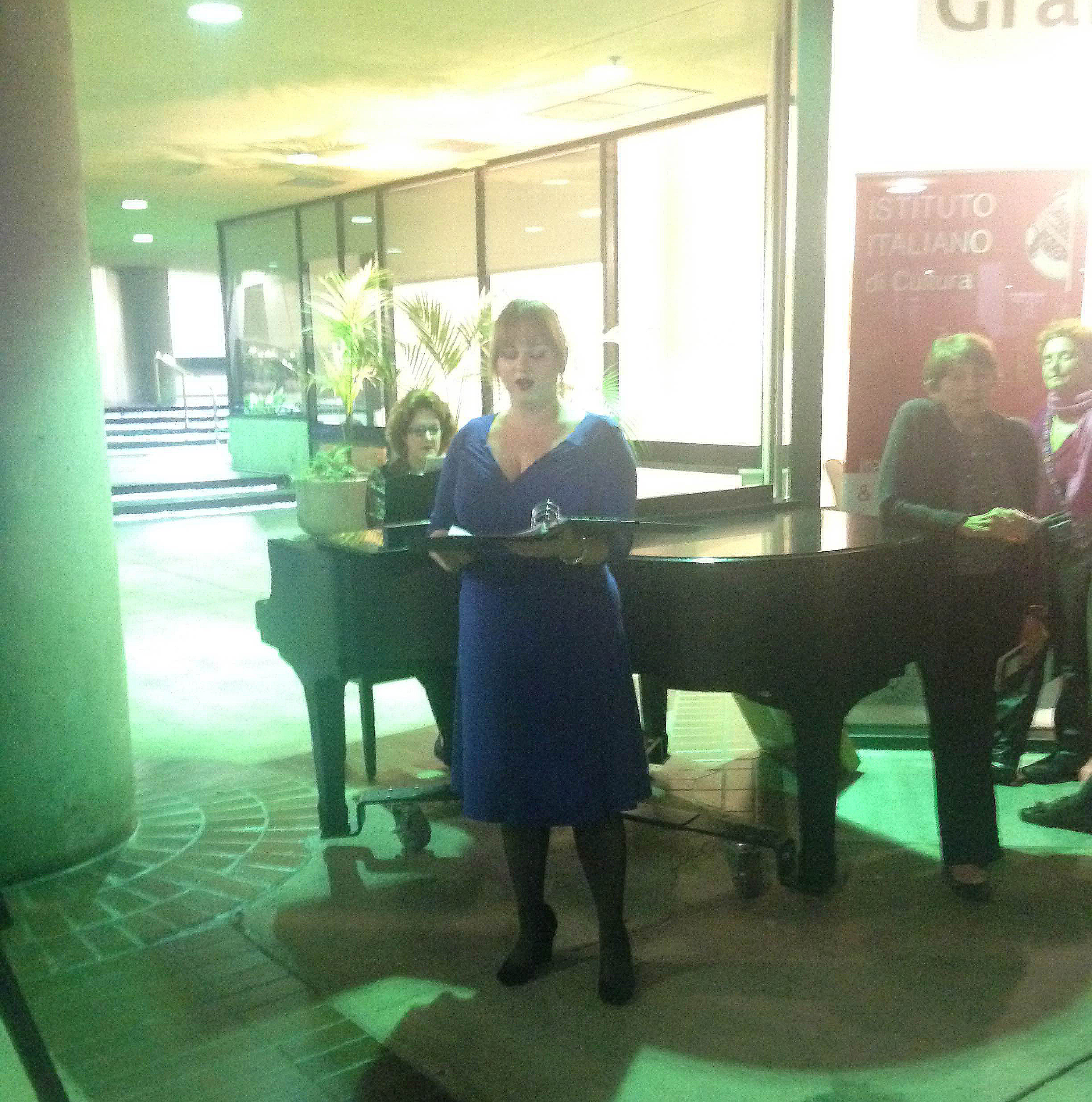 Opera singer, Kathryn Bowden of Merola Foundation Artists performs for the Istituto Italiano Grand Opening.