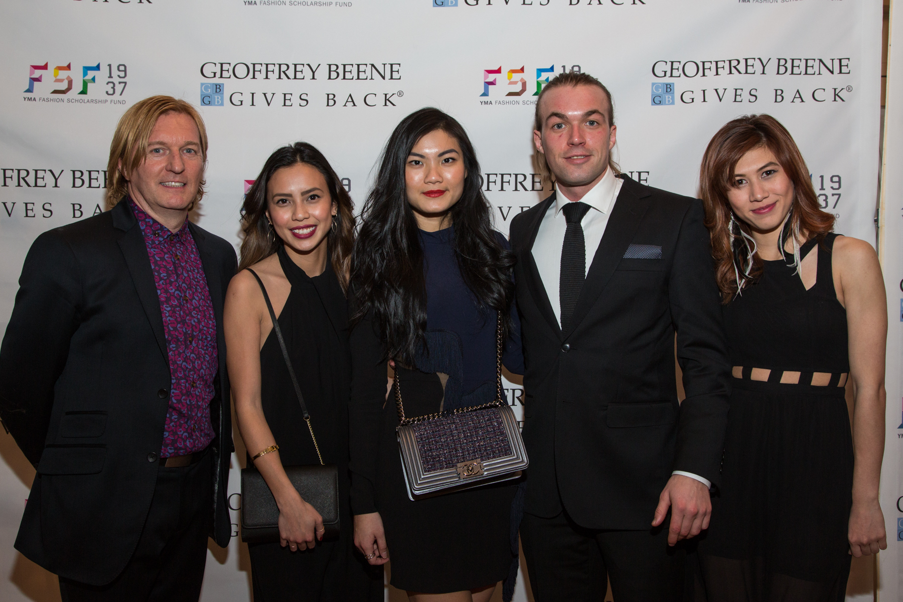 Senior Directory of Merchandising at Academy of Art University School of Fashion, Keanan Duffty, Academy of Art University YMA FSF 2014 winners; Celina Enriquez, Stephanie Michelle Hendrawan, Martin Evensen, and Busara Buty. Photo courtesy of YMA FSF