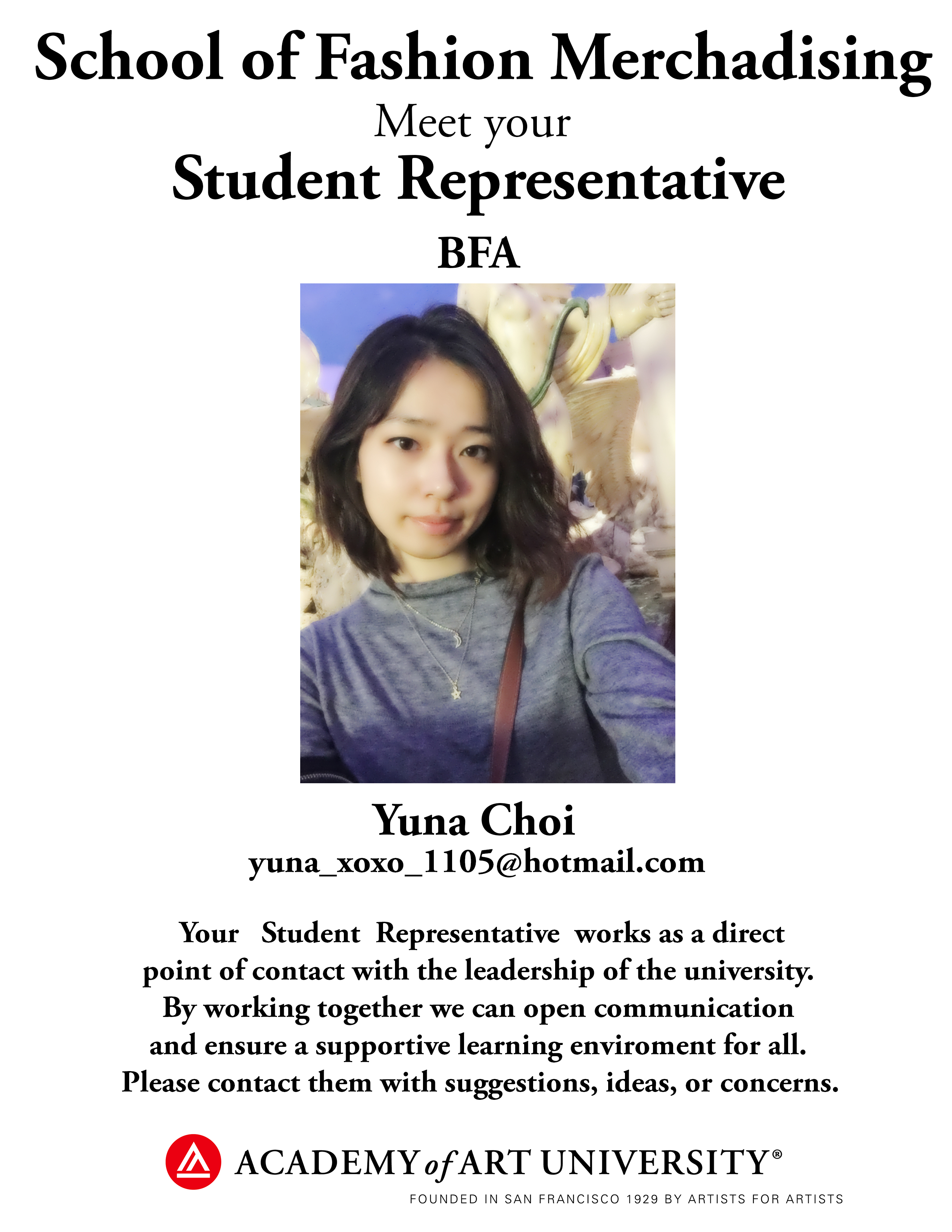 BFA Fashion Merchandising student representative Yuna Choi/email: yuna_xoxo_1105@hotmail.com