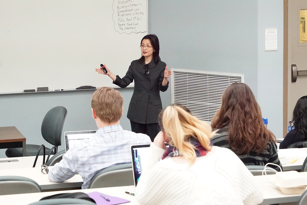 Director of Fashion Merchandising, Jinah Oh, in guest lecture at UC Hastings College of the Law/ Photo courtesy of Bob Toy