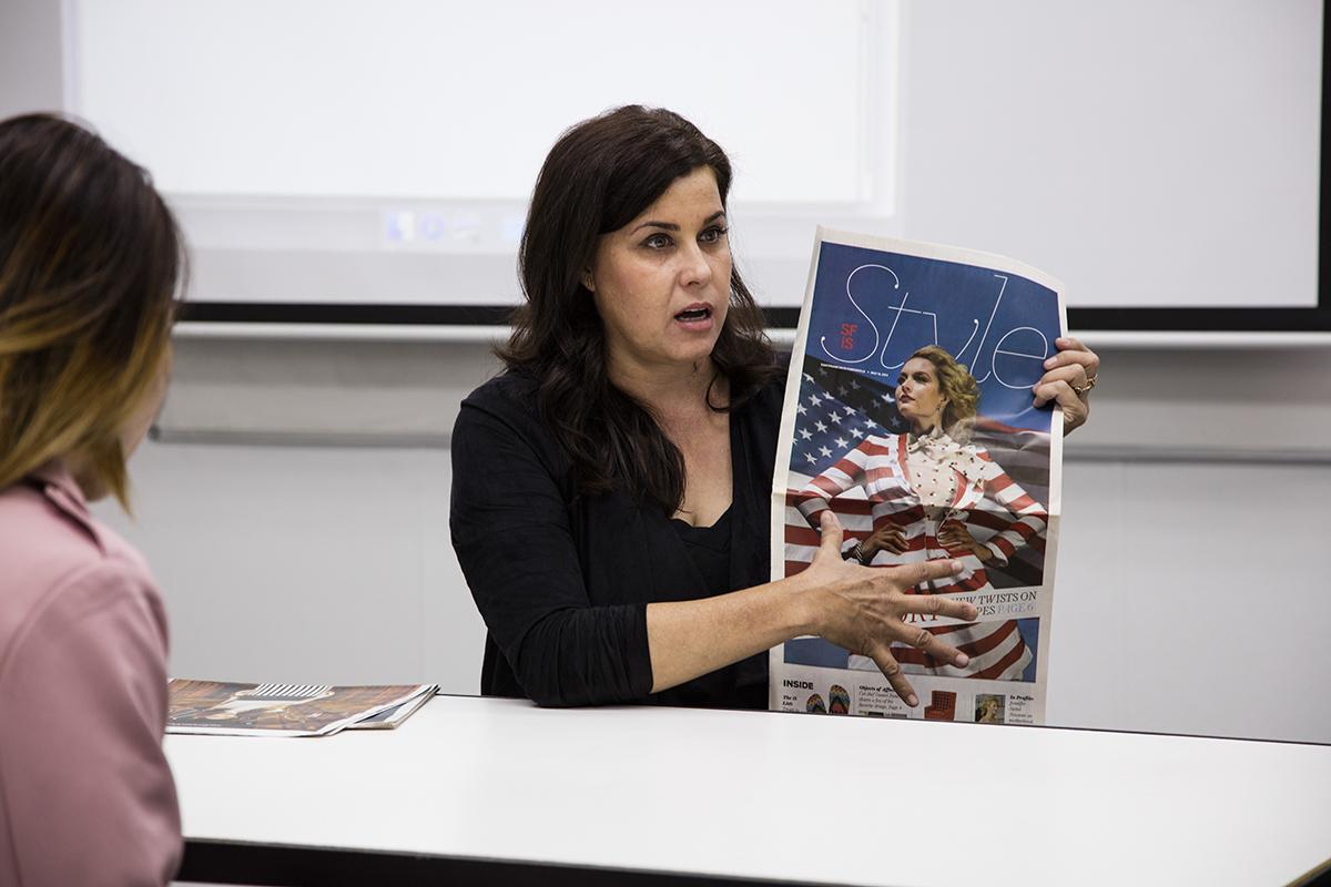 Anastasia Hendrix talks to FSH 328 Editorial Styling students; Photo courtesy of Danielle Rueda