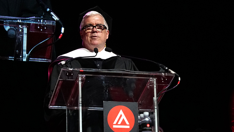 Tim Blanks, CFDA award winning fashion journalist, delivering his keynote speech at the Academy of Art University 2016 Commencement Ceremony