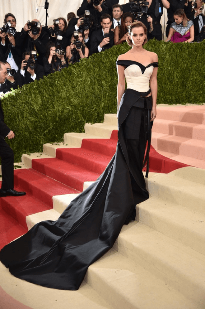 Emma Watson arriving at the Met Gala in a dress made of recycled bottles, made by Calvin Klein and Eco Age. Image: Getty Images, Teen Vogue