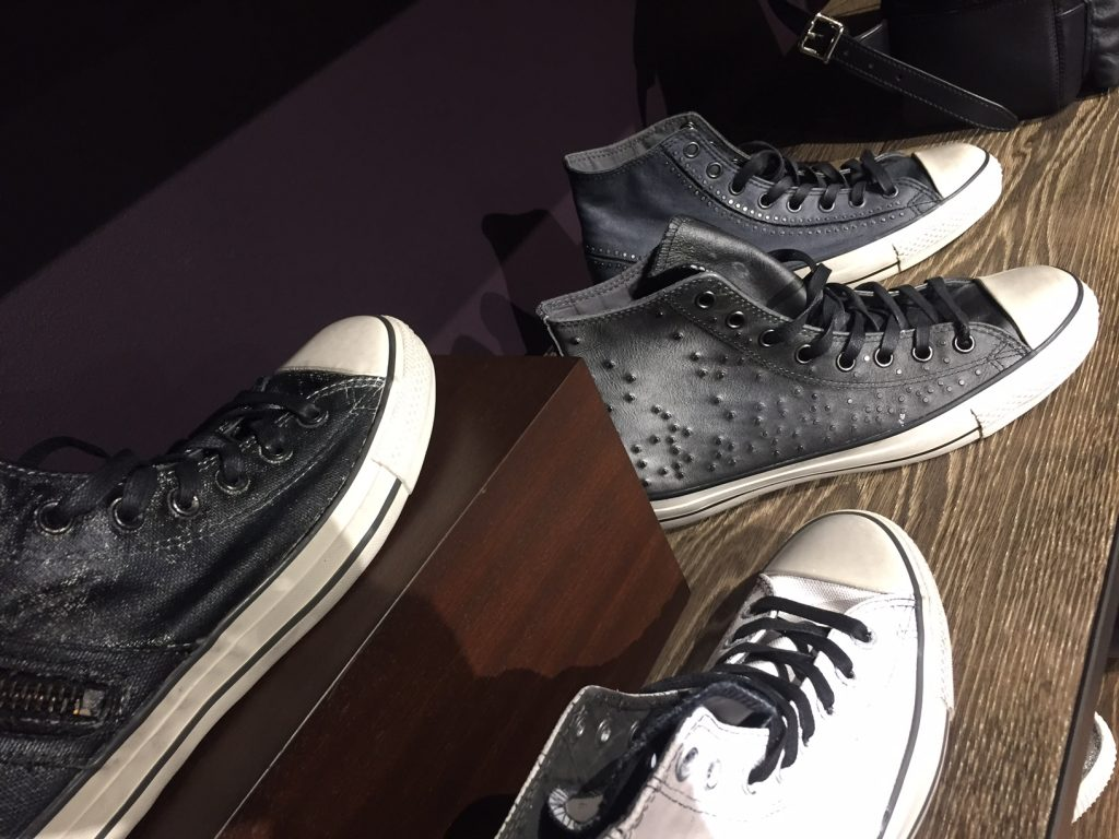 A display of John Varvatos' newest design collaboration with footwear brand Converse. Image Source: Fashion School Daily