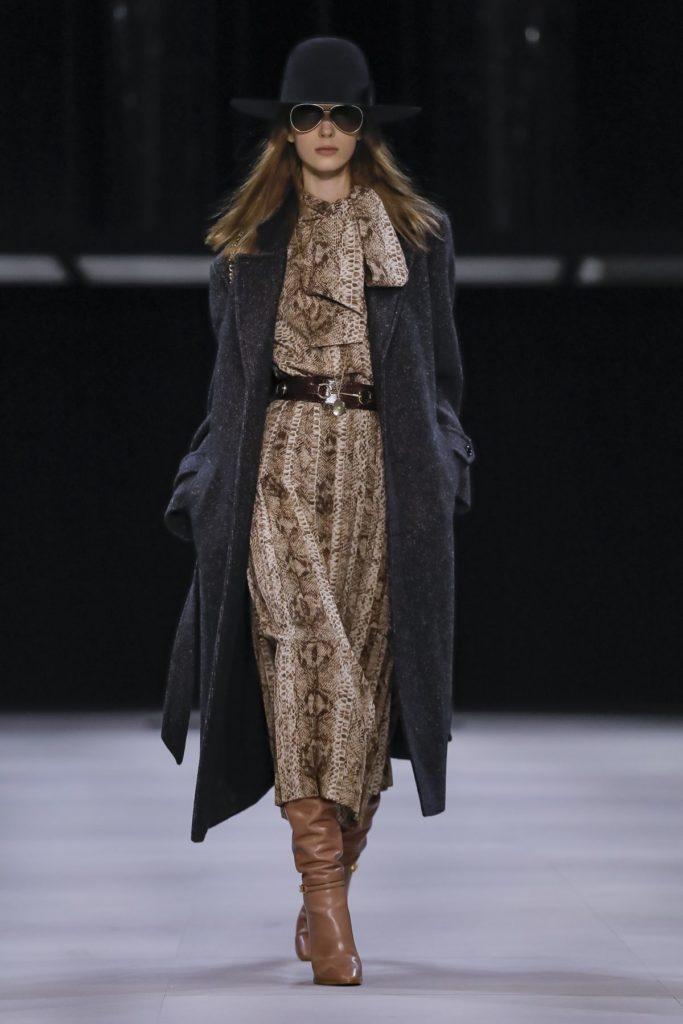 celine snakeskin brown dress