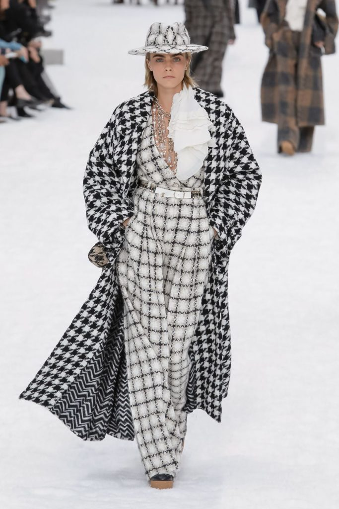 chanel black and white coat