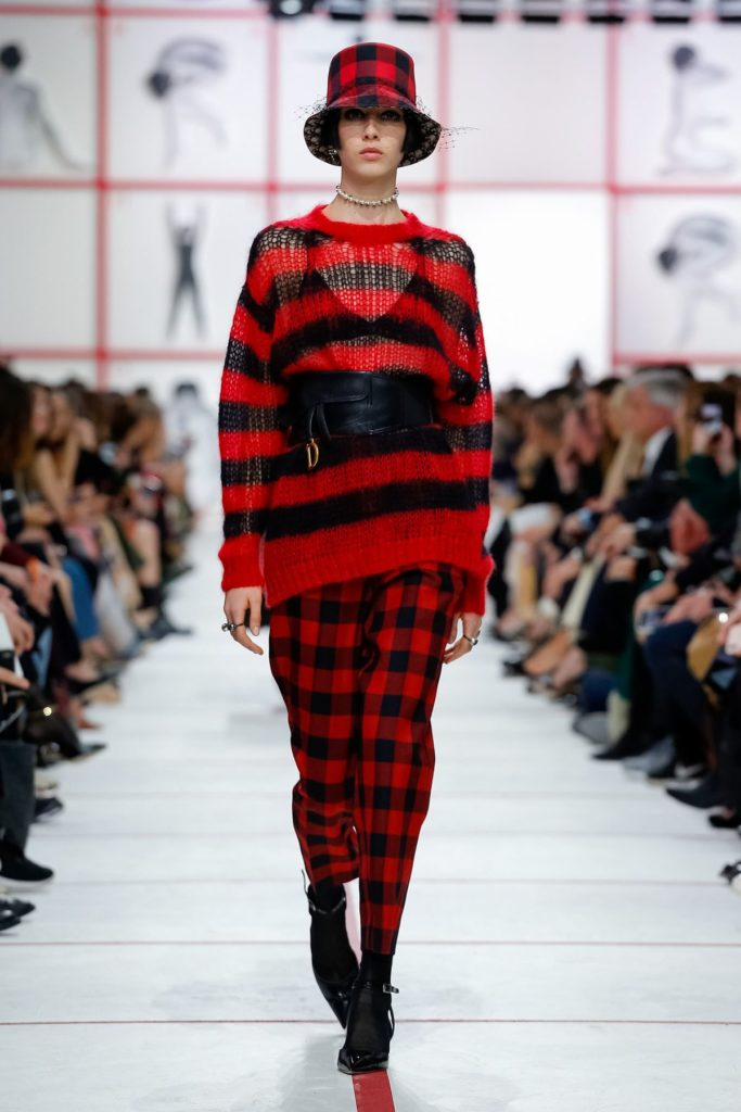 christian dior red and black stripes and checks