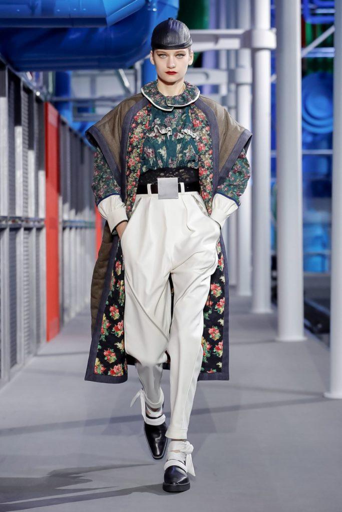 louis vuitton floral coat white pants