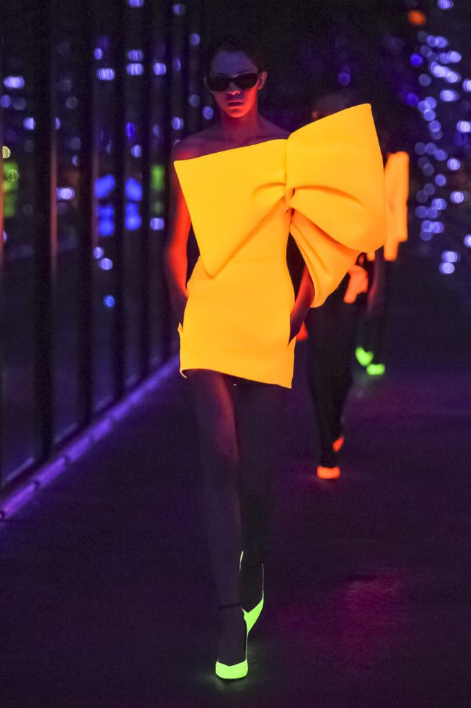 yves saint laurent orange neon dress