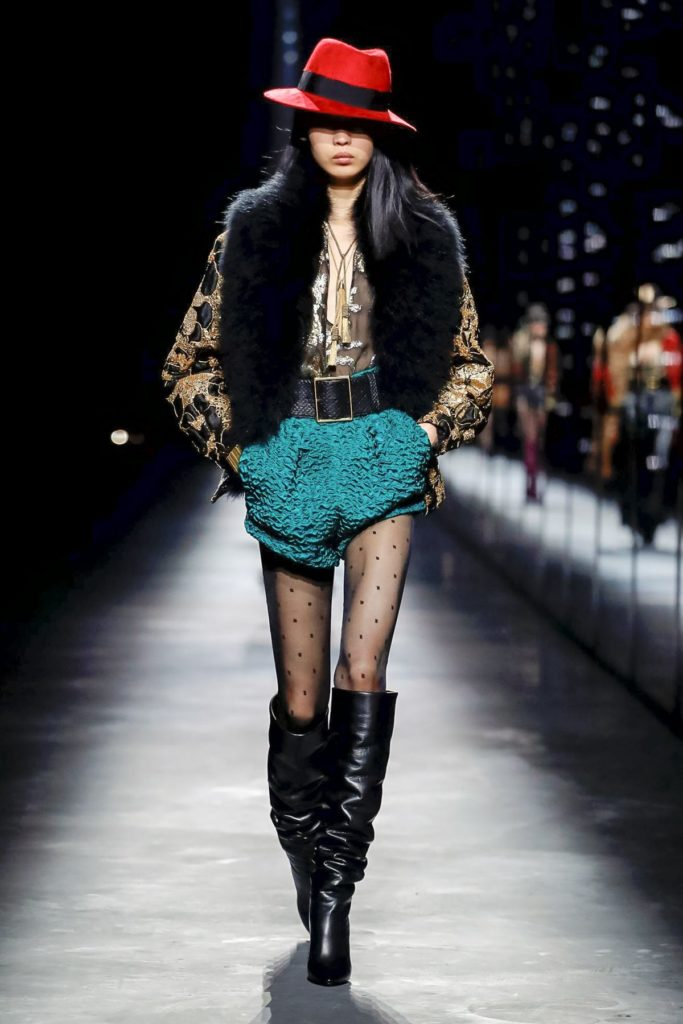 yves st laurent teal shorts and fur
