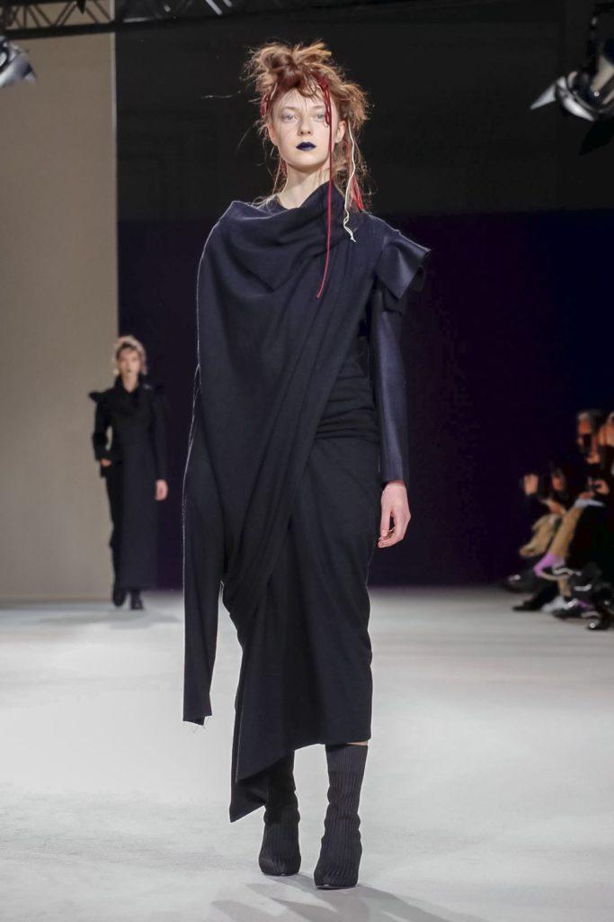 yohji yamamoto paris fashion week black draped dress