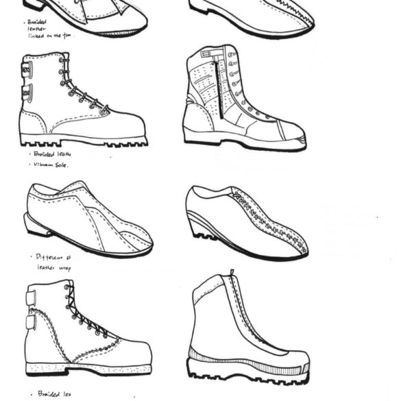 Footwear sketches by B.F.A. Fashion Styling student Alexandra Cheng