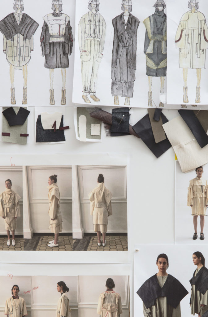 Moodboard for the graduate collection by Ying Jin, MFA Fashion Design. Photography by Danielle Rueda.
