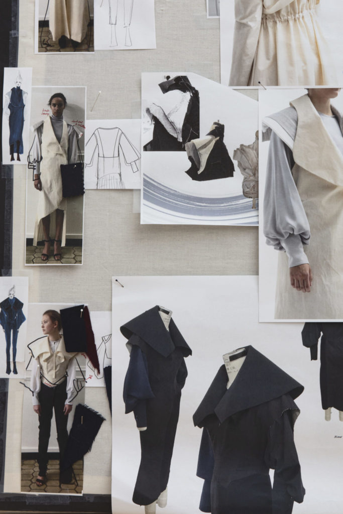 Moodboard for the collection by Yue Shen, MFA Fashion Design, and Mingyang Zhang, BFA Knitwear Design. Photography by Danielle Rueda