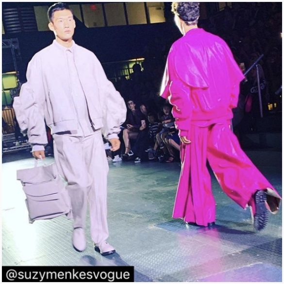 Photo by Suzy Menkes at Academy of Art University Graduate Fashion Show at NYFW SS'20
